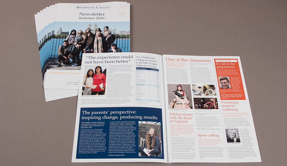 Brampton College printed newsletter