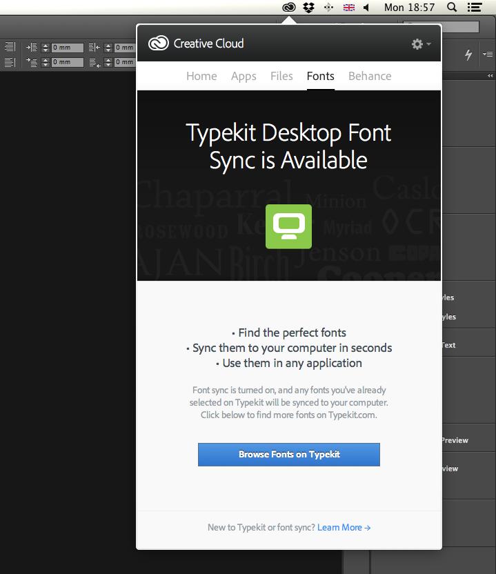 Typekit in Creative Cloud