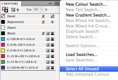 Adobe InDesign swatches panel