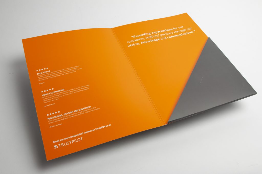 A4 printed presentation folders inside