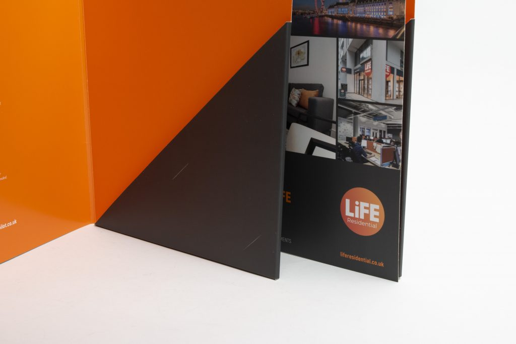 Branded folder with  business card slots